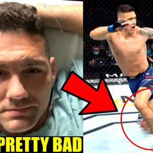 Chris Weidman reacts to breaking his leg in UFC 261 fight against Uriah Hall,Khamzat Chimaev's back