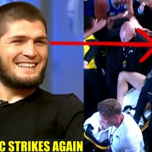 Khabib reacts to Conor McGregor getting carried out on a stretcher after breaking his leg,Poirier
